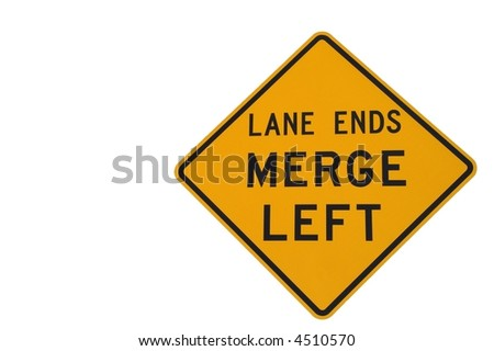 Lane ends merge left sign on white to warn of lane ending soon
