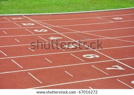 Lanes of running track