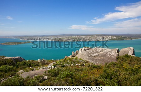Langebaan Lagoon and the town of Langebaan seen from the West Coast National Park, Western Cape, South Africa.