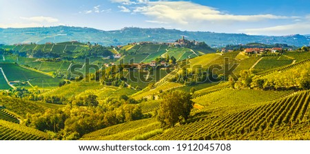 Langhe vineyards landscape and Castiglione Falletto village panorama, Unesco Site, Piedmont, Northern Italy Europe.