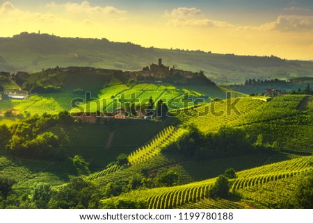 Langhe vineyards sunset panorama, Castiglione Falletto and La Morra, Unesco Site, Piedmont, Northern Italy Europe. #1199780188