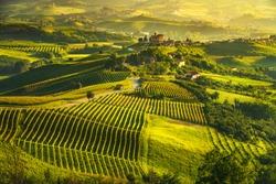 Langhe vineyards sunset panorama, Grinzane Cavour, Unesco Site, Piedmont, Northern Italy Europe.