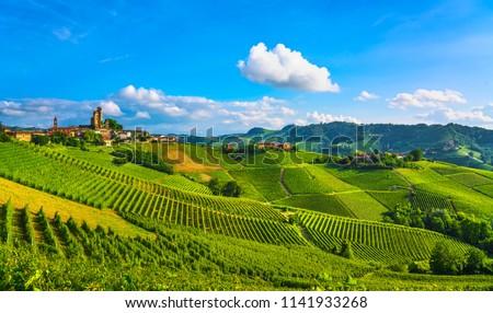 Langhe vineyards sunset panorama, Serralunga d Alba, Unesco Site, Piedmont, Northern Italy Europe.