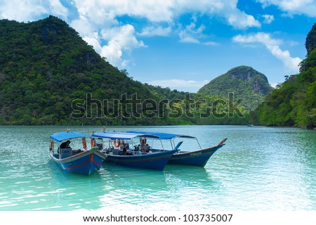 LANGKAWI- FEB 25 Tourist boats at pregnant maiden island on February 25 2012 in Langkawi Malaysia The pregnant maiden island is known to be the second largest island of the Langkawi archipelago