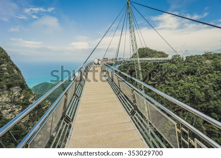 Langkawi sky bridge, cable-stayed bridge, Langkawi cable car panorama #353029700