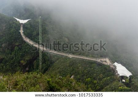 Langkawi Sky Bridge in the fog, Malaysia #1017533335