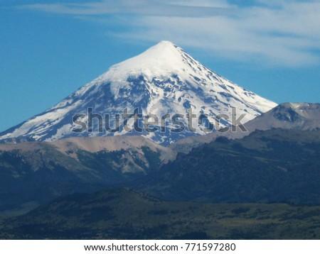 Lanin volcano in the foreground, Junín de los Andes, Argentina