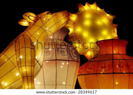 Lantern about dog barks at sun. - stock photo