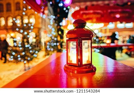Lantern at Livu Square in Christmas market in winter Riga in Latvia.