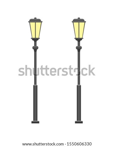 Lantern illuminating light and glowing lamps isolated icons raster. Street furniture and illumination of city town park street at night. Metal stands