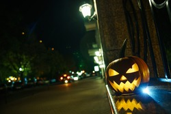 lantern pumpkin Jack-o-lantern halloween decoration on the streets.