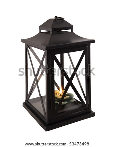 lantern with candlelight on a white background