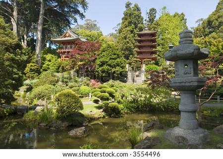 lantern with two pagodas Japanese tea House in Golden Gate Park, San Francisco California