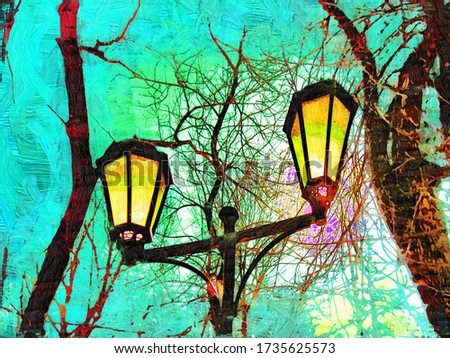 Lanterns for lighting alleys in the Park Blonie in Smolensk in the style of oil painting Fauvism