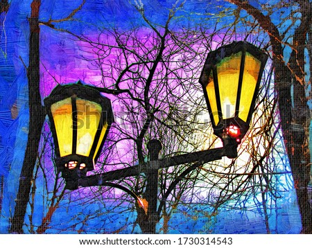 Lanterns for lighting alleys in the Park Blonie in Smolensk in the style of oil painting in the style of Fauvism