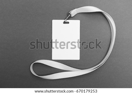 Lanyard and badge. Conference badge. Blank badge template with white strap. #670179253