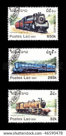 LAO - CIRCA 1991: Obsolete canceled postage commemorative honoring railroad locomotives, circa 1991, Lao