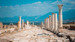 Laodikeia. Ruins of the ancient city. Laodikeia is a Hellenistic city in Denizli.