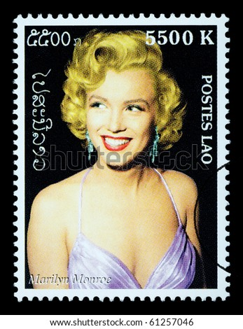 LAOS - CIRCA 2000: A postage stamp printed in Laos showing Marilyn Monroe; circa 2000