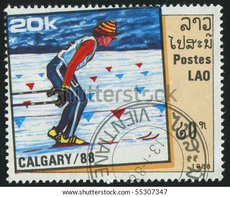 LAOS - CIRCA 1988: stamp printed by Laos, shows country skiing, circa 1988.