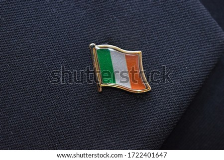 Lapel Pin - Ireland Flag pinned on a suit ストックフォト ©