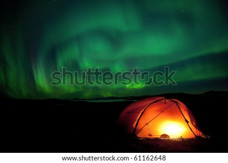 Laponia 2010 - Northernlights over the tent on the Padjelantaleden hiking trail at night in September 2010
