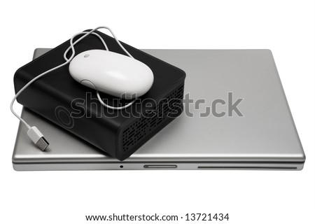 laptop and an external hard drive on a white background