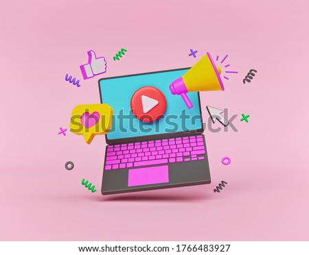 laptop and colorful graphic elements. business advertising and promotion concept. 3d rendering