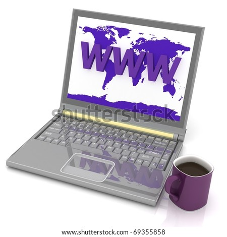 laptop and cup of coffee - stock photo