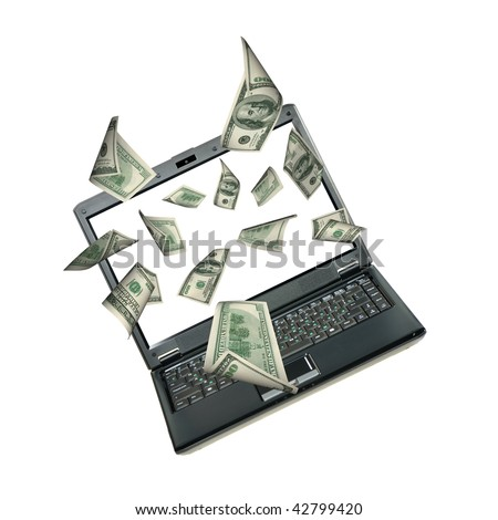 Laptop and dollars. Money taking off from the screen
