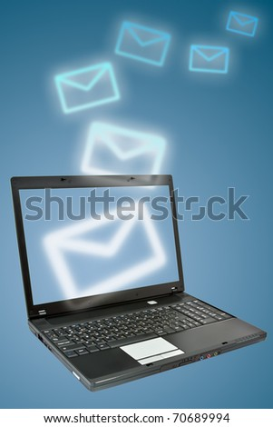 Laptop and email. Communication concept.