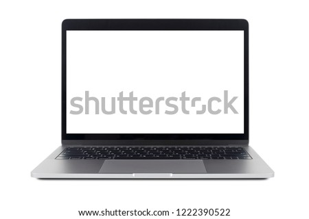 Laptop and empty space isolated on white background with clipping path, Gray aluminium body. #1222390522
