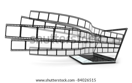 Laptop and films on white background  (done in 3d)