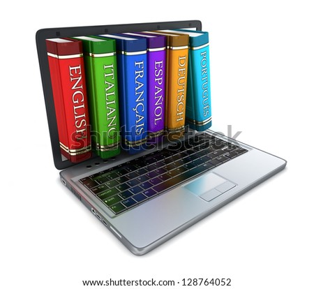 Laptop and foreign language (done in 3d) - stock photo