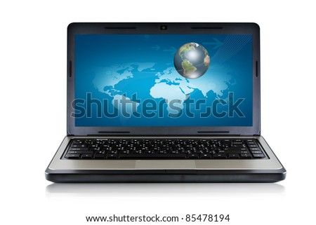 Laptop and Globe concept  Isolated  on white background