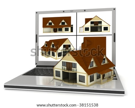 laptop and home done in 3d