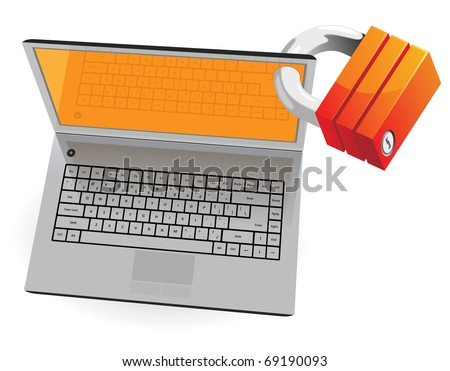 Laptop and lock: computer security concept. Raster version. Vector version is also available.