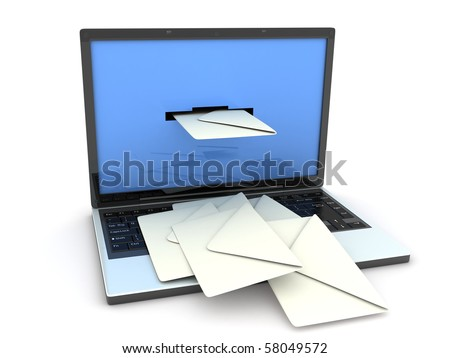 laptop and mail (done in 3d, isolated)