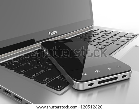 Laptop and mobile phone.Three-dimensional image. 3d