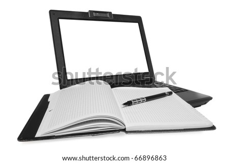 laptop and Notebook on white background