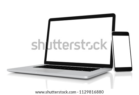 Laptop and smartphone with blank screen isolated on white background, clipping path, 3d rendering