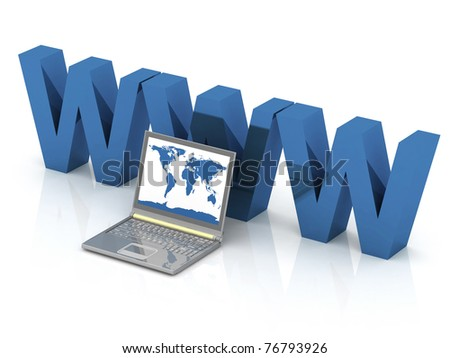 laptop and WWW on the white background