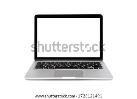Laptop blank white screen isolated on white background Foto stock ©