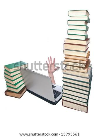 laptop, book