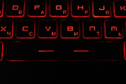 Laptop buttons, keyboard. Glowing buttons. Space, numbers.