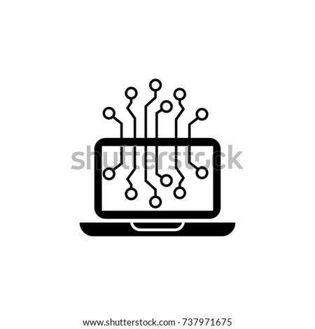 Laptop Chip icon on white background