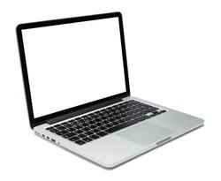 Laptop closeup on white background