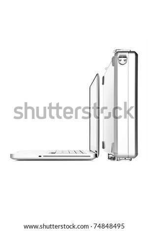 laptop computer and briefcase on white