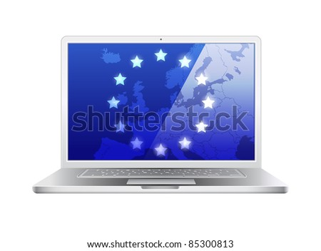 Laptop computer and Europe background - JPG version - stock photo