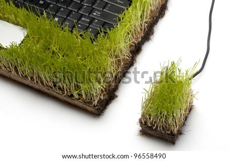 Laptop Computer And Mouse Made Out Of Grass, white background